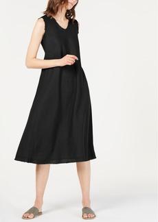 Eileen Fisher Organic Linen Unfinished-Edge Dress