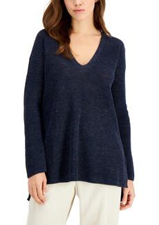 Eileen Fisher Organic Linen V-Neck Sweater