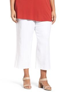 Eileen Fisher Organic Linen Wide Leg Crop Pants (Plus Size)