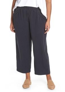 Eileen Fisher Pinstripe Crop Wide Leg Pants (Plus Size)
