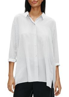 Eileen Fisher Pinstriped Silk Button-Front Shirt
