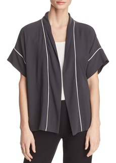 Eileen Fisher Piped Silk Short-Sleeve Kimono - 100% Exclusive
