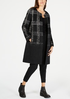 Eileen Fisher Wool Blend Plaid Ombre Long Jacket