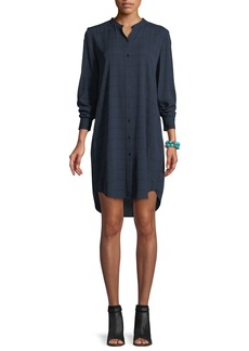 Eileen Fisher Plaid Silk Boyfriend Shirt Dress