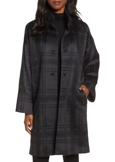 Eileen Fisher Plaid Stand Collar Coat