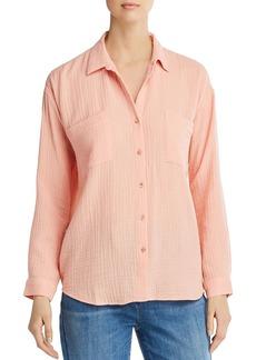 Eileen Fisher Pliss� Organic Cotton Button-Down Top