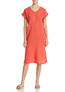 Eileen Fisher Petites Pliss� Organic Cotton Side-Slit Dress