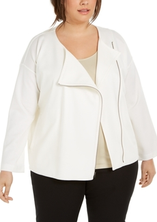 Eileen Fisher Plus Size Asymmetrical-Zip Jacket