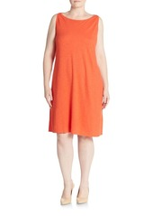 Eileen Fisher Plus Cotton-Blend Shift Dress