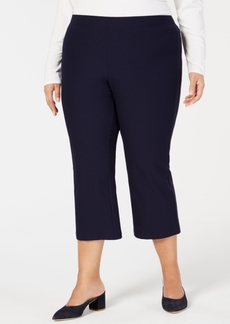 Eileen Fisher Plus Size Cropped Washable Crepe Flare-Leg Pants