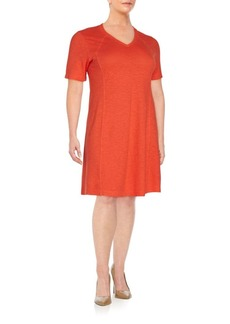 Eileen Fisher, Plus Size V-Neck T-Shirt Dress