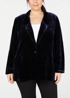 Eileen Fisher Plus Size Notch-Collar Velvet Blazer