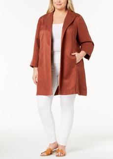 Eileen Fisher Plus Size Silk-Linen Open-Front Coat