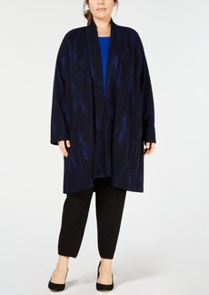 Eileen Fisher Plus Size Open-Front Printed Kimono Jacket