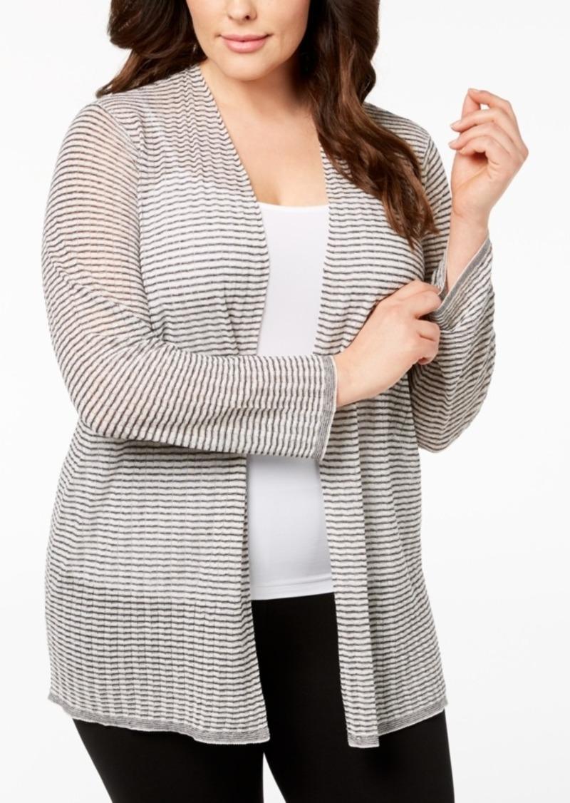 711bf8a7227 Eileen Fisher Eileen Fisher Plus Size Organic Linen Sheer Cardigan ...