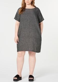 Eileen Fisher Plus Size Organic Linen Shift Dress