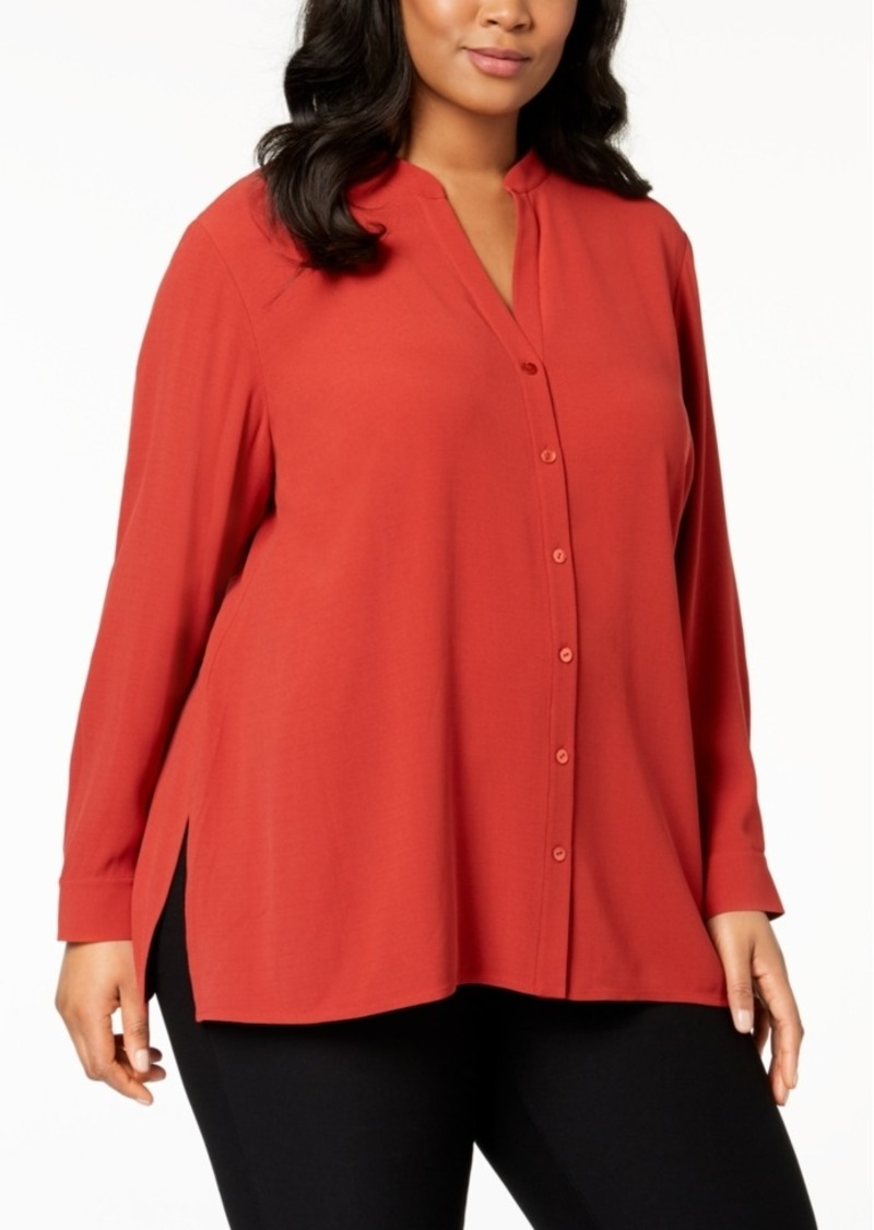 503ce9f9af0 Eileen Fisher Eileen Fisher Plus Size Silk Stand-Collar Tunic ...