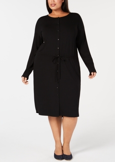 Eileen Fisher Plus Size Stretch Jersey Drawstring-Waist Shirtdress