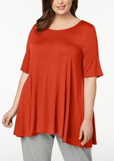 Eileen Fisher Plus-Size Stretch Jersey Elbow-Sleeve Top