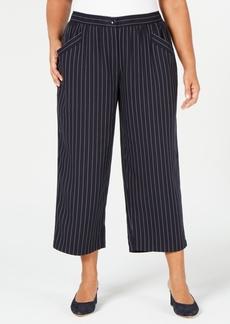 Eileen Fisher Plus Size Tencel Striped Cropped Pants
