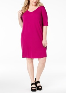 Eileen Fisher Plus Size V-Neck T-Shirt Dress