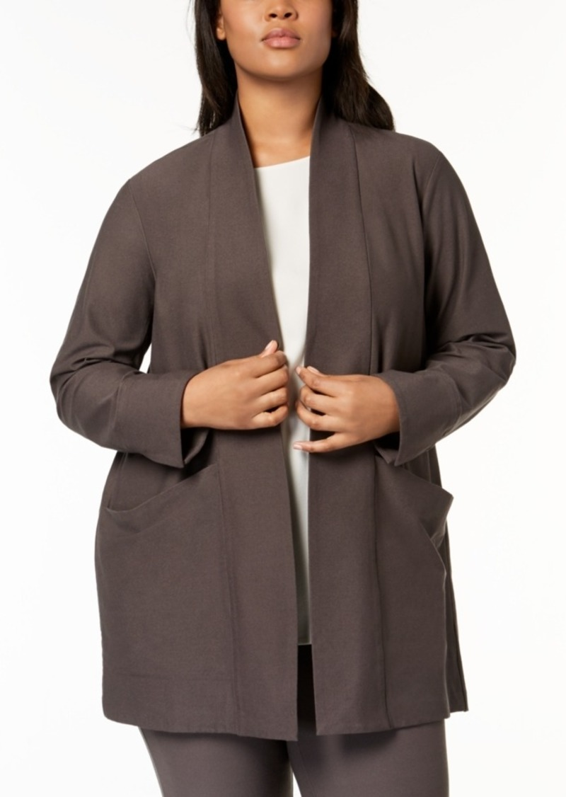 b92e3c2bdb4 Eileen Fisher Eileen Fisher Plus Size Washable Crepe Open-Front ...
