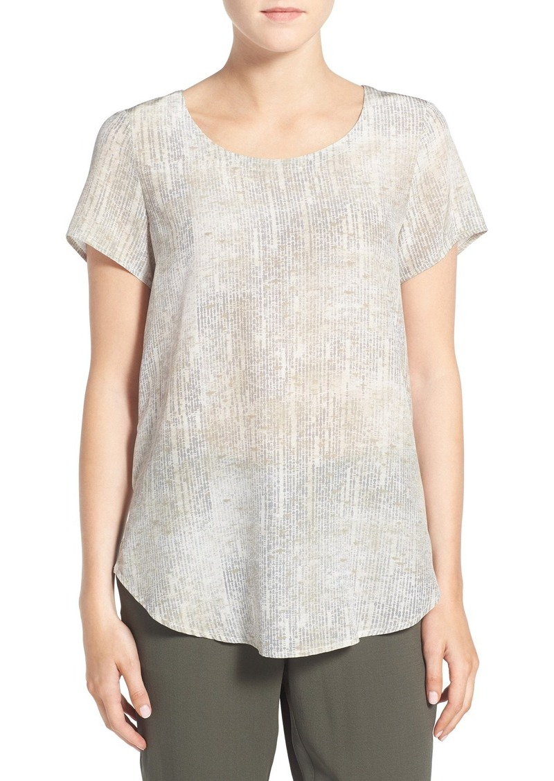 Eileen Fisher Print Silk Short Sleeve Top (Regular & Petite)