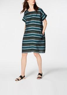 Eileen Fisher Printed Organic Linen Shift Dress, Regular & Petite