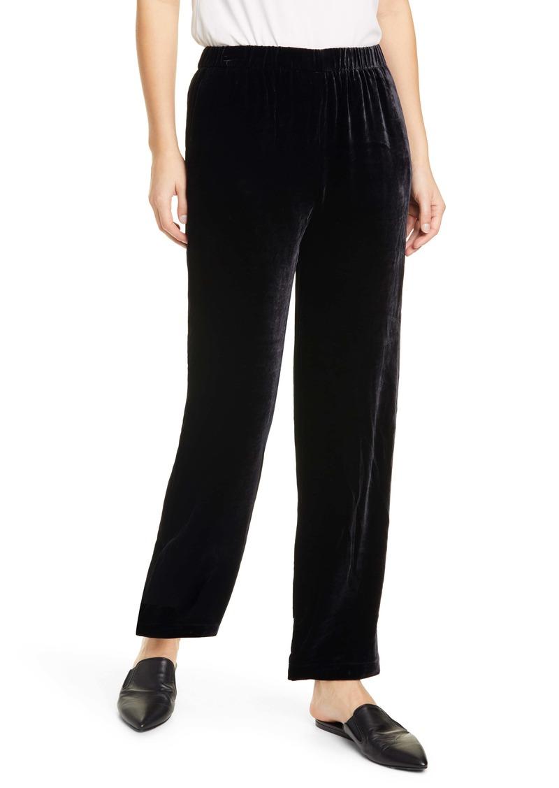 Eileen Fisher Pull-On Straight Leg Velvet Pants (Regular & Petite)