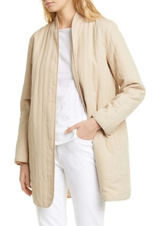 Eileen Fisher Quilted Linen Blend Long Jacket