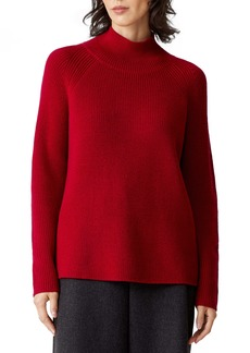 Eileen Fisher Raglan Sleeve Merino Wool Turtleneck Sweater