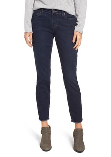 Eileen Fisher Raw Edge Slim Ankle Jeans (Washed Indigo) (Regular & Petite)