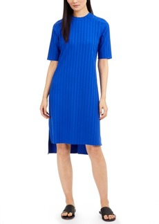 Eileen Fisher Ribbed Mock-Neck Drop-Hem Dress