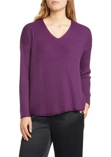 Eileen Fisher Ribbed V-Neck Top