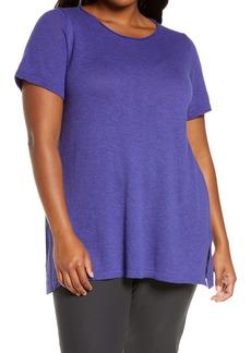 Eileen Fisher Roll Neck Organic Cotton & Linen Short Sleeve Sweater (Plus Size)