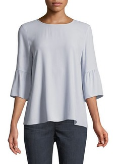 Eileen Fisher Round-Neck Flutter-Sleeve Silk Top