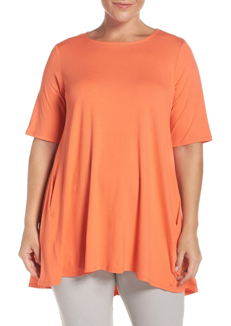 Eileen Fisher Round Neck Lightweight Jersey Top (Plus Size)