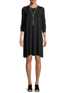 Eileen Fisher Round-Neck Long-Sleeve Jersey Dress