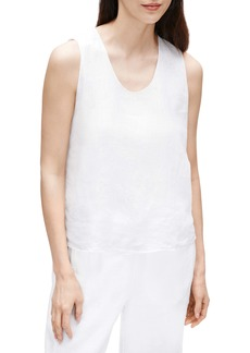 Eileen Fisher Rounded V-Neck Organic Handkerchief Linen Shell