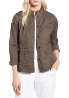 Eileen Fisher Ruffle Collar Organic Cotton Blend Jacket (Regular & Petite)