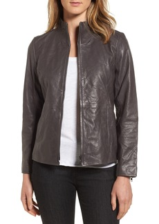 Eileen Fisher Rumpled Luxe Leather Stand Collar Jacket