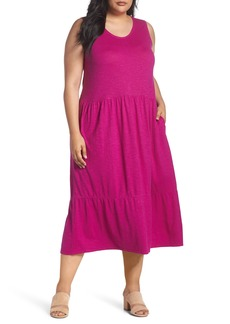 Eileen Fisher Scooped Neck Hemp & Cotton Midi Dress (Plus Size)