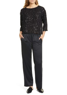 Eileen Fisher Sequin Silk Box Top