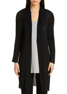 Eileen Fisher Shawl Collar Plissé Long Jacket