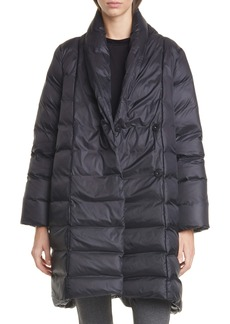 Eileen Fisher Shawl Collar Quilted Recycled Nylon Down Coat