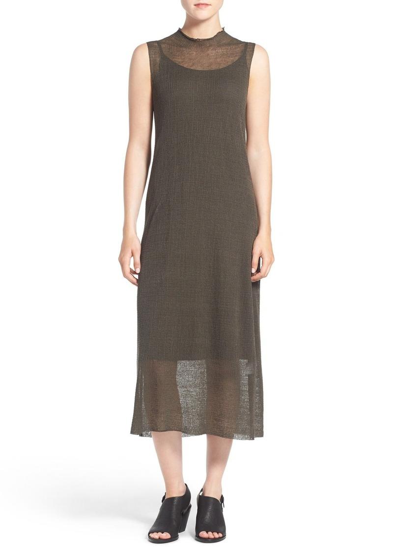 Eileen Fisher Sheer Hemp Blend Sleeveless Funnel Neck Shift Dress