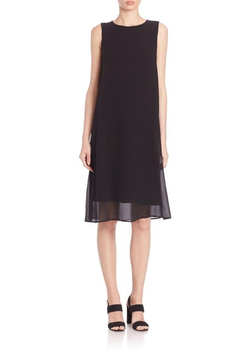 Eileen Fisher Sheer Silk Overlay Dress