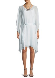 Eileen Fisher Sheer Silk V-Neck Caftan Dress w/ Belt