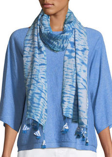 Eileen Fisher Shibori Striped Organic Cotton Scarf
