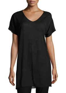 Eileen Fisher Short-Sleeve Fine Organic Linen Crepe Tunic